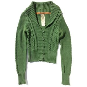 Fossil Cable Knit button Cardigan Sweater S green
